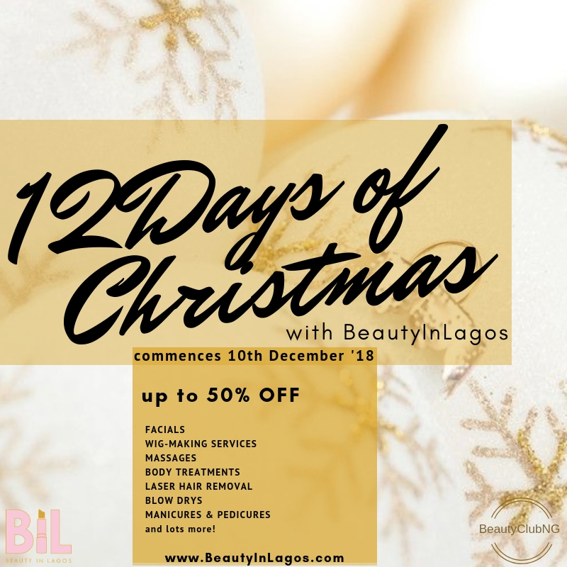 THIS CHRISTMAS, BEAUTYINLAGOS IS BRINGING YOU 12 DAYS OF BEAUTY DEALS