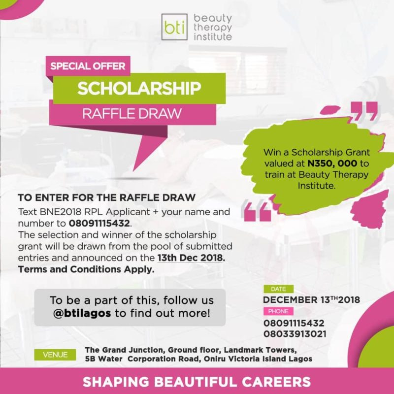WIN A SCHOLARSHIP TO TRAIN AT BEAUTY THERAPY INSTITUTE (BTi)